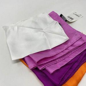 Nordstrom Solid Silk Pocket Square Purple/Orange